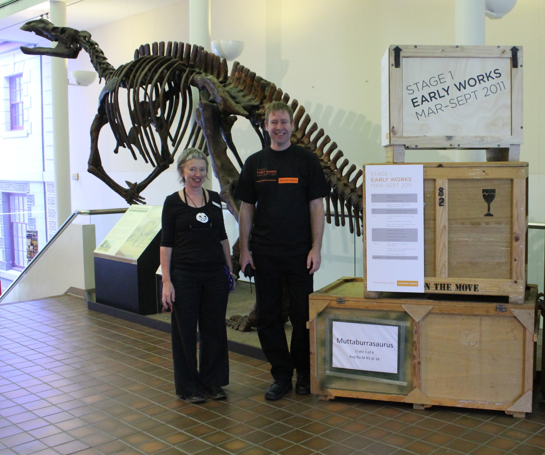 Penny and Matt with our beloved muttaburrasaurus