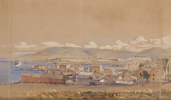 Hobart Town in 1848 (Detail), 1848, F G Simpkinson (de Wesselow), pencil, watercolour and chinese white on six sheets
