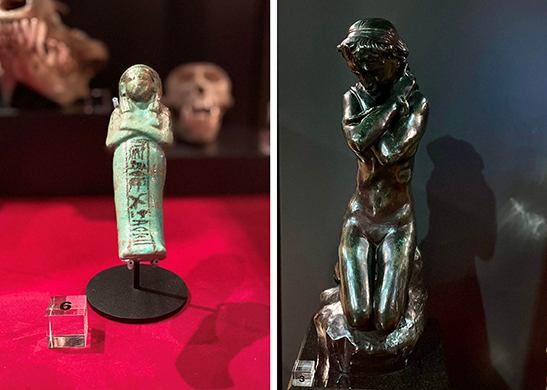 Funerary figure and Rodin sculpture
