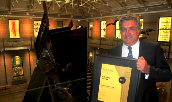 Bill Bleathman with the 2013 MAGNA award